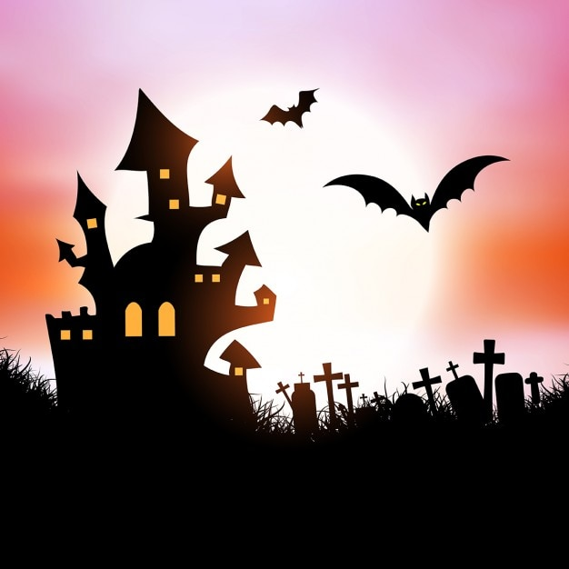 halloween background with spooky house and bats vector