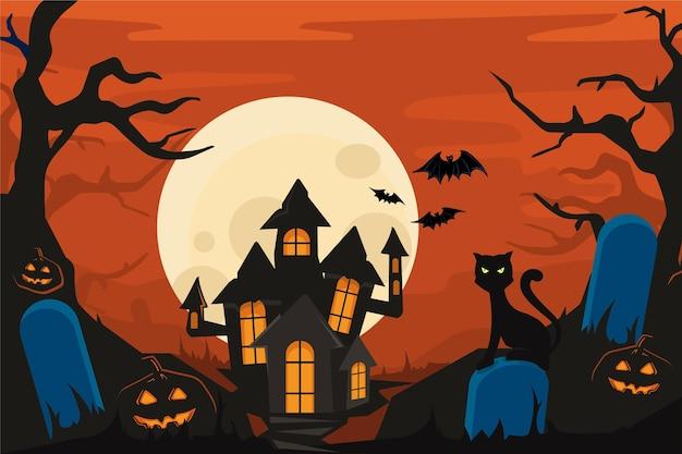 不気味な家でハロウィンの背景 無料ベクター