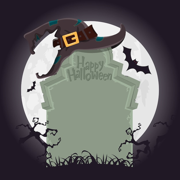 Halloween background with tomb in grave yard. Premium Vector