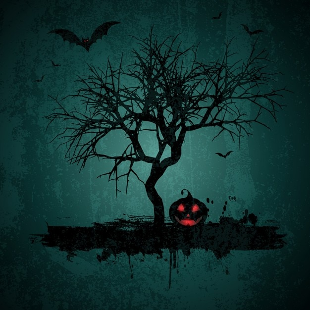 Halloween background with tree and pumpkin in grunge style Free Vector