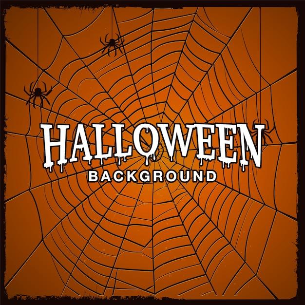 Предпосылка хеллоуина с паутиной паука и текстуры grunge. Premium векторы