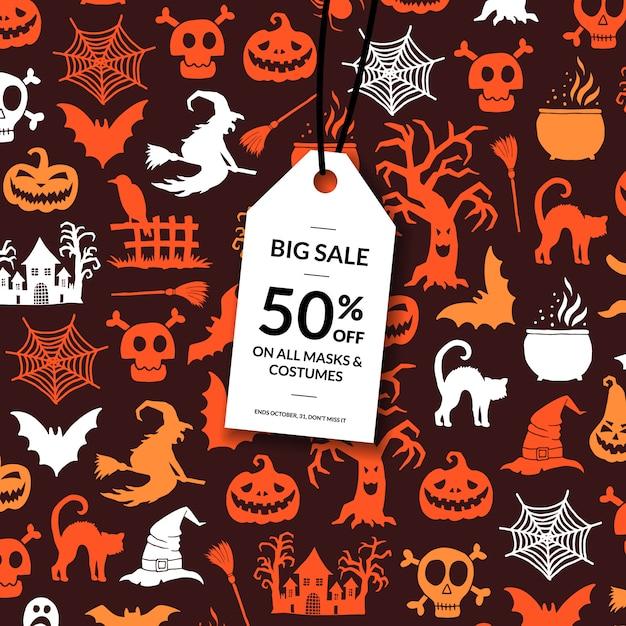 Хэллоуин фон с белым тегом продажи Premium векторы