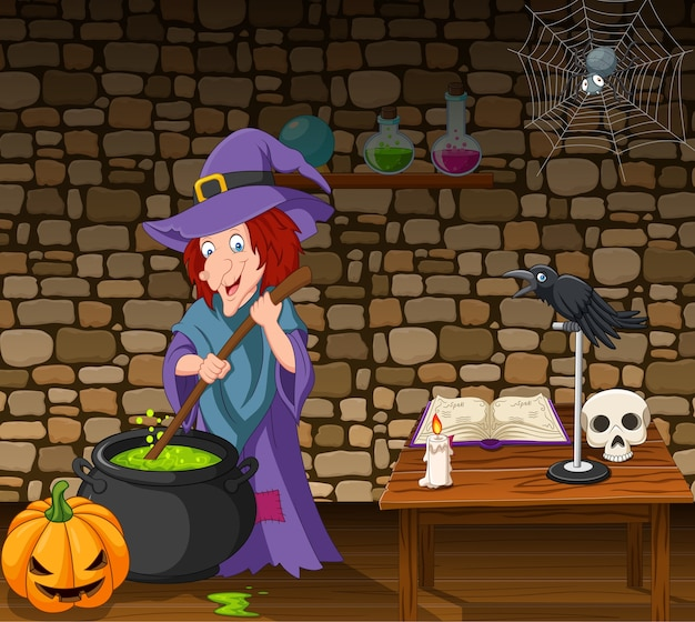 Halloween background with witch stirring magic potion Premium Vector