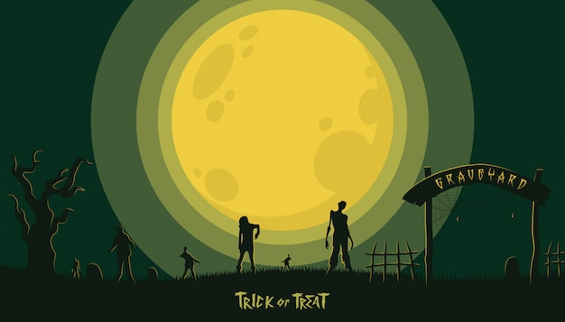 Halloween background with zombie at the graveyard Premium Vector
