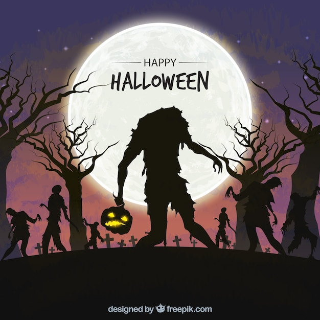 Halloween background with zombies Free Vector