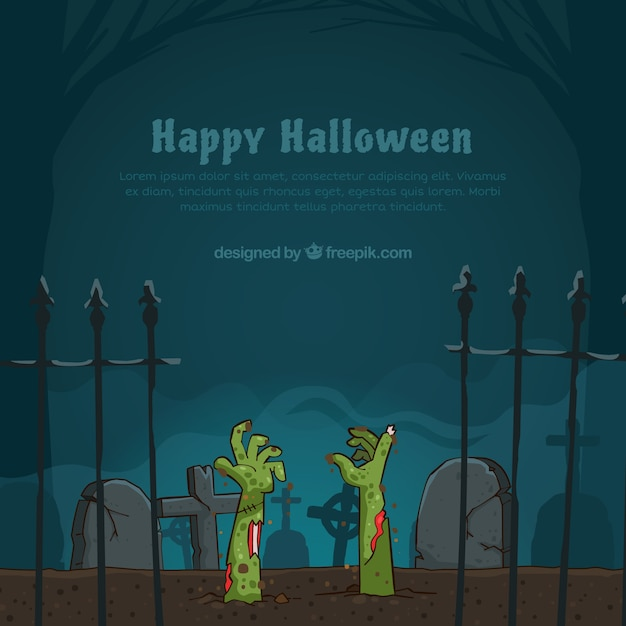 Halloween background wtih zombies Free Vector