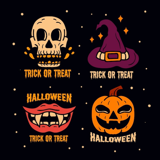 Halloween badge collection in flat design Free Vector