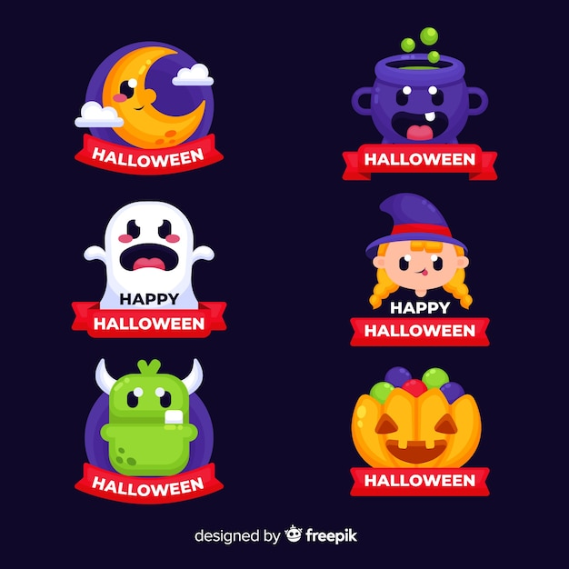 Halloween badges collection with ribbons Free Vector