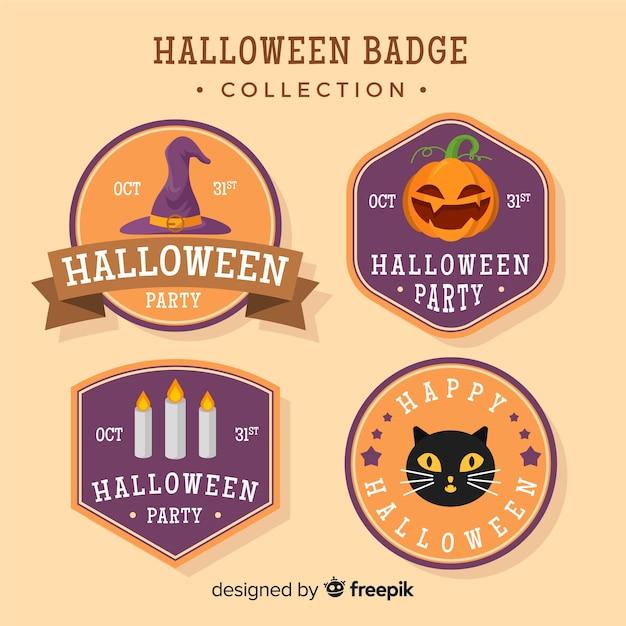 Halloween badges set Free Vector