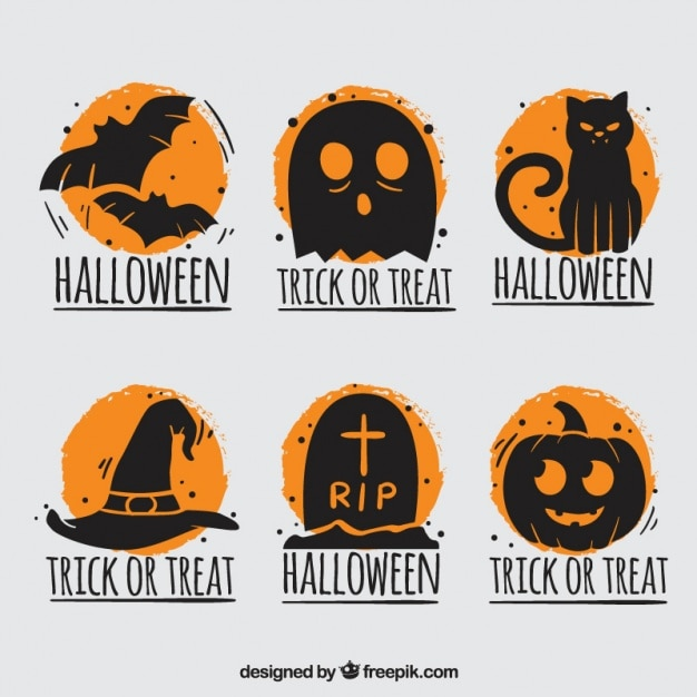 Halloween badges with orange background Free Vector