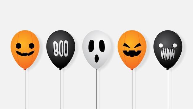 Halloween balloon vector banner background Premium Vector