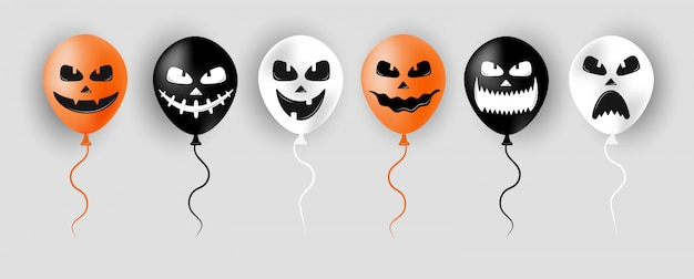 Halloween balloons. scary air orange, black and white balloons. creepy face on baloon for sale banners or poster. holidays cartoon character. vector illustration in flat style. Premium Vector