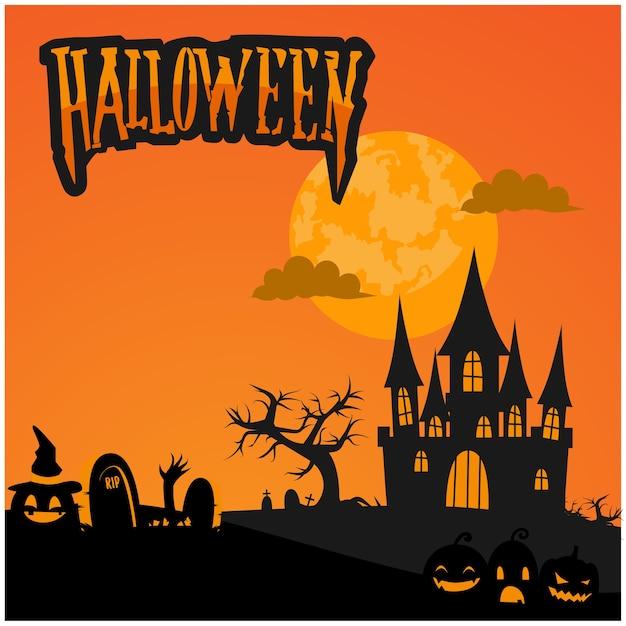Halloween banner background template Premium Vector