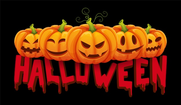 Halloween banner. halloween pumpkin with funny faces. party background Premium Vector