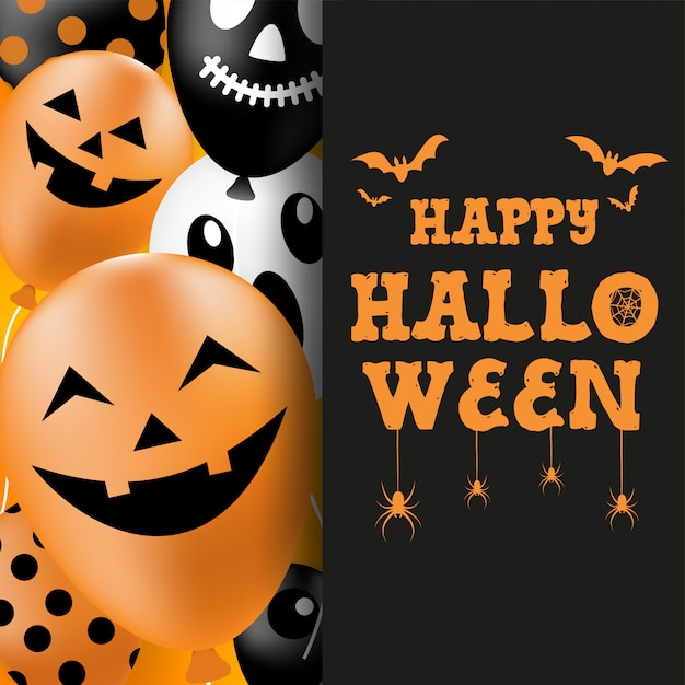 Баннер хэллоуина, иллюстрация воздушных шаров-призраков хэллоуина. вектор Premium векторы