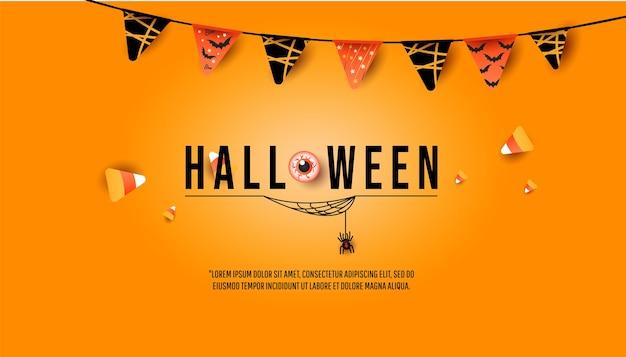 ハロウィーンのバナー、パーティの招待状のコンセプト。旗の花輪、カラフルなキャンディー、最小限のオレンジ色の背景に蜘蛛の巣のクモと創造的なトレンディな装飾 Premiumベクター