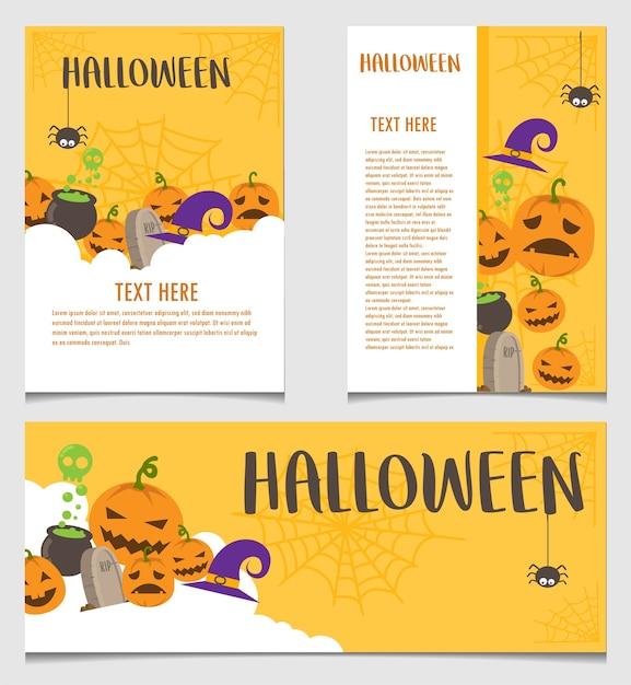 Halloween banner and poster vector template Premium Vector