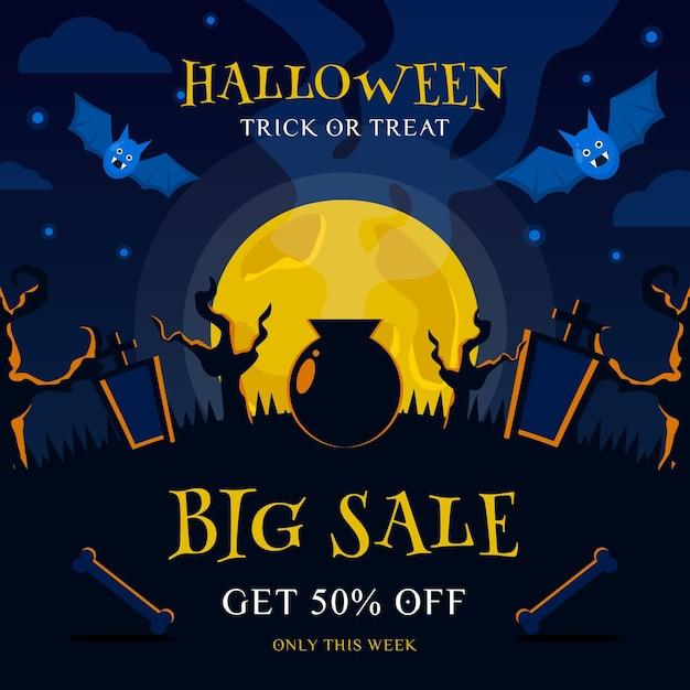 Halloween banner for sale Premium Vector