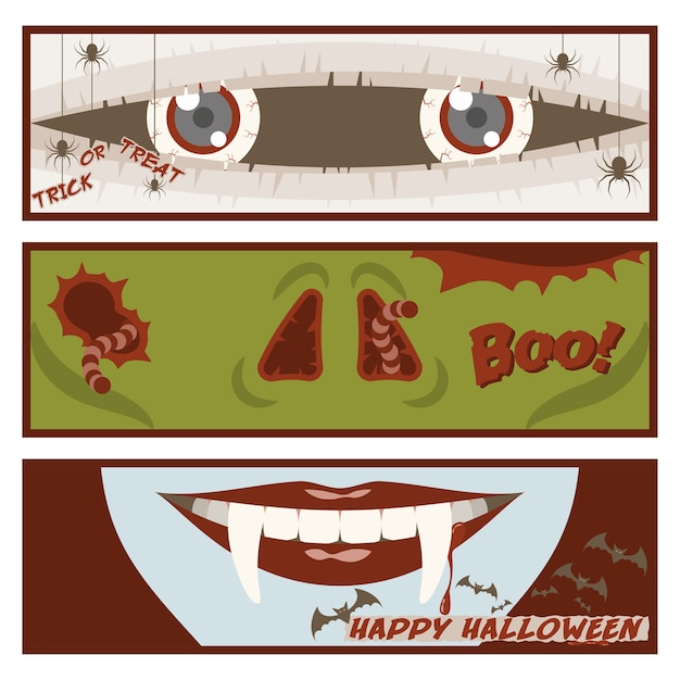 Halloween banner set with eyes of mummy Premium Vector