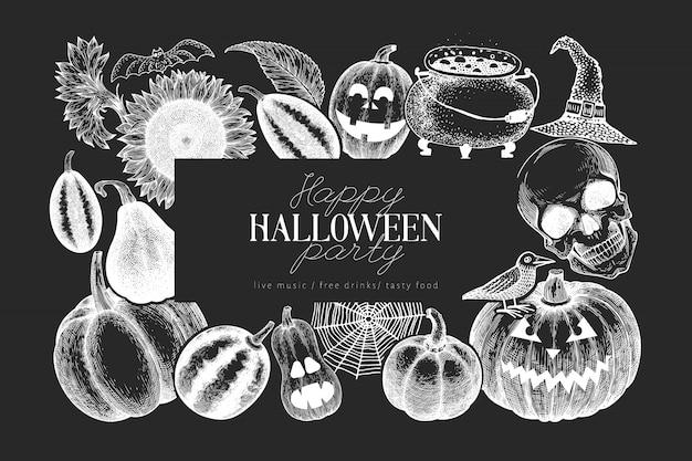 Halloween banner template. hand drawn illustrations on chalk board. Premium Vector