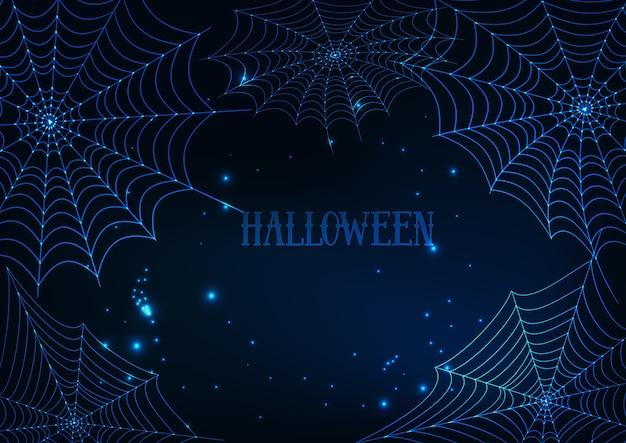 Halloween banner template with glowing spider webs Premium Vector