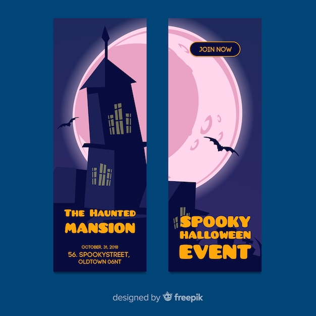 Halloween banner templates in flat design Free Vector