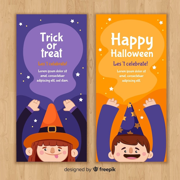 Halloween banner templates with kids Free Vector