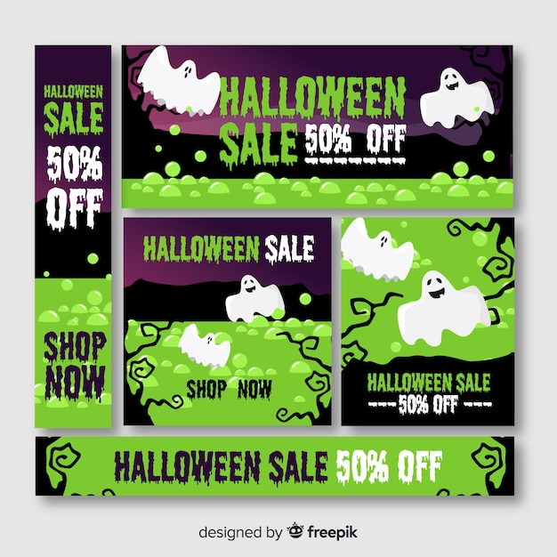 Halloween banner web in green shades with ghosts Free Vector