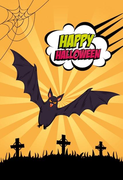 Halloween banner with bat flying in cemetery style pop art Premium Vector