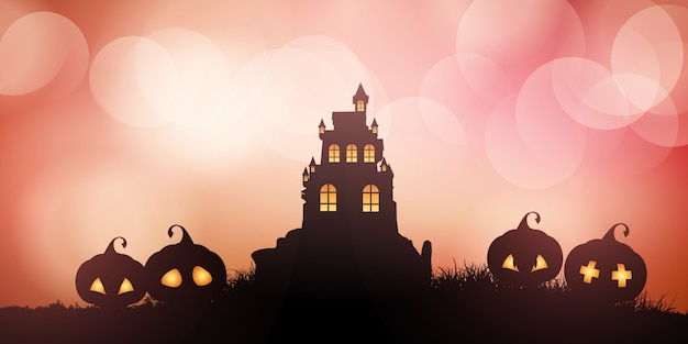 Halloween banner with castle and pumpkins Free Vector