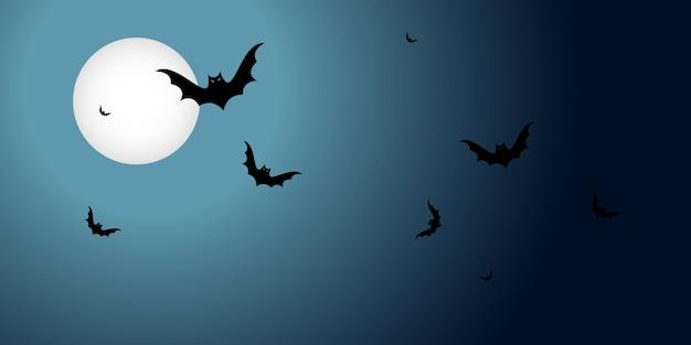 暗い背景の月の上に黒いコウモリが飛んでいるハロウィーンのバナー。コピースペースポスター付き横型 Premiumベクター