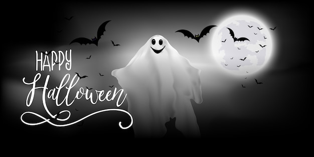 Halloween banner with ghost and bats design Free Vector