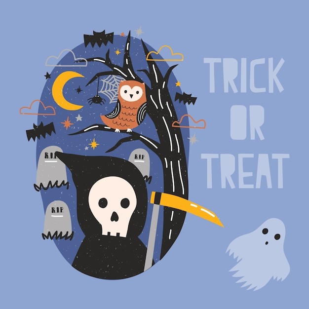 Halloween banner with grim reaper holding scythe, ghost, owl sitting on tree branch against graves on cemetery and starry night sky on background. trick or treat. cartoon festive illustration. Premium Vector