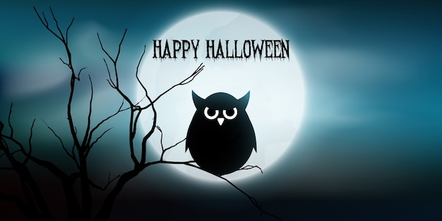 Halloween banner with owl and tree against moon Free Vector