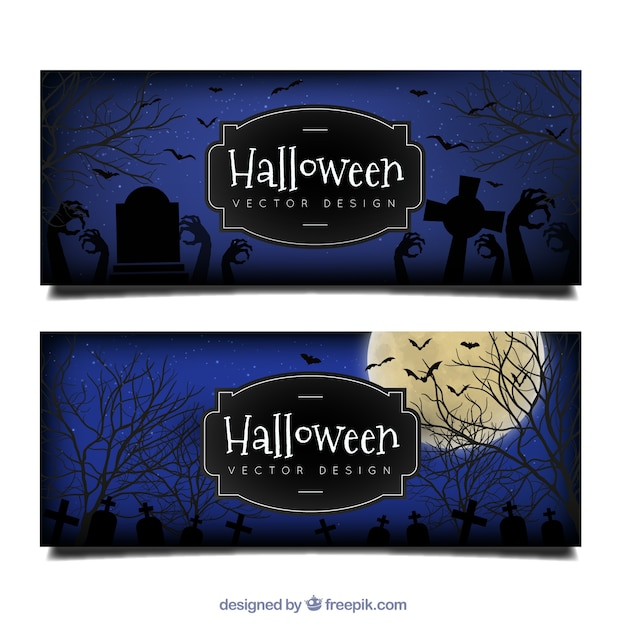 Halloween banners of cemetery Free Vector