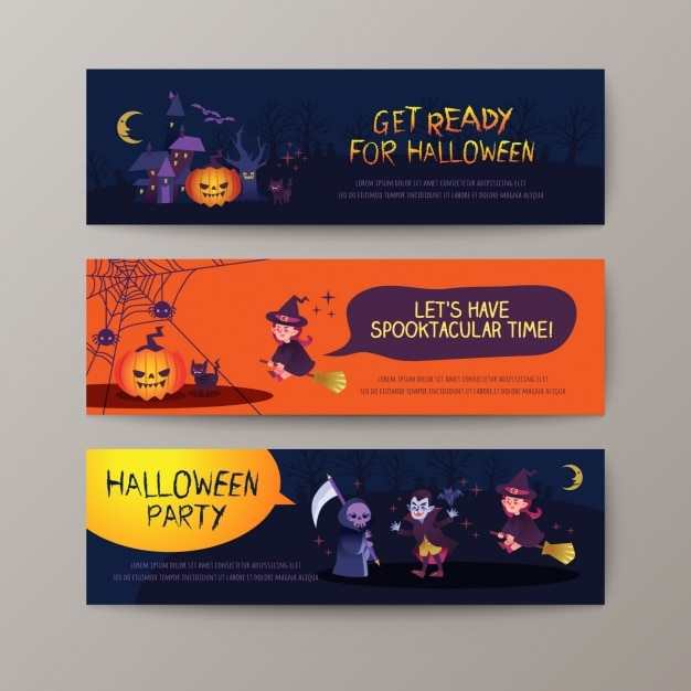 Halloween banners collection Free Vector