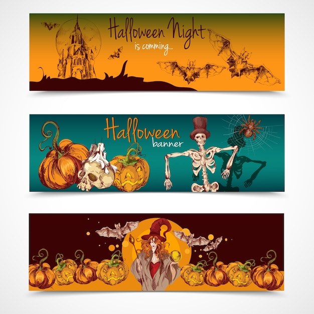 Halloween banners collection Vector | Free Download
