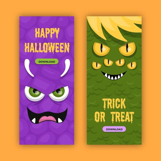 Banner di halloween in design piatto Vettore gratuito