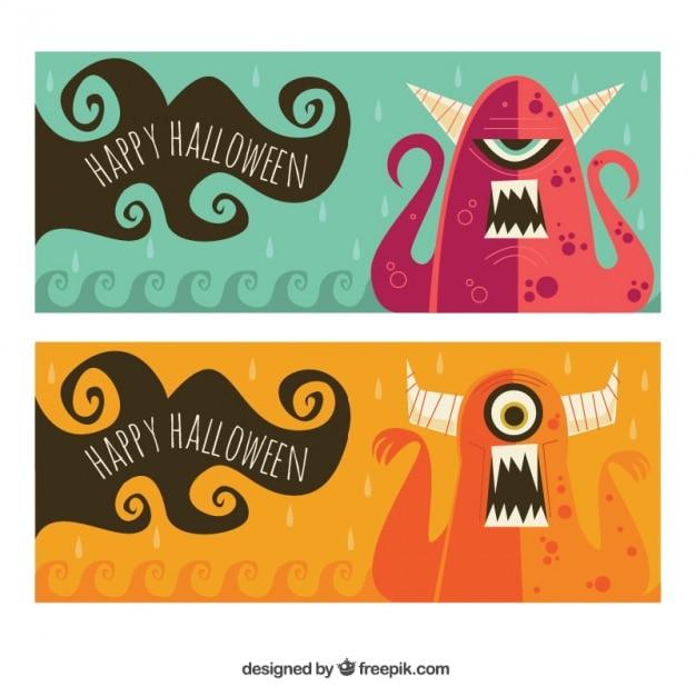 Halloween banners of nice monsters Free Vector