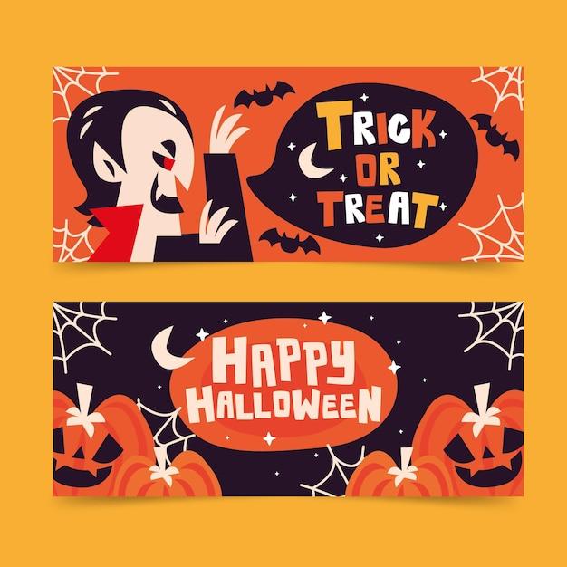 Хэллоуин баннеры установить стиль Бесплатные векторы