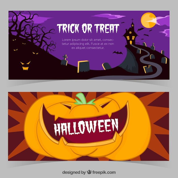 Halloween banners with a castle and a\ pumpkin