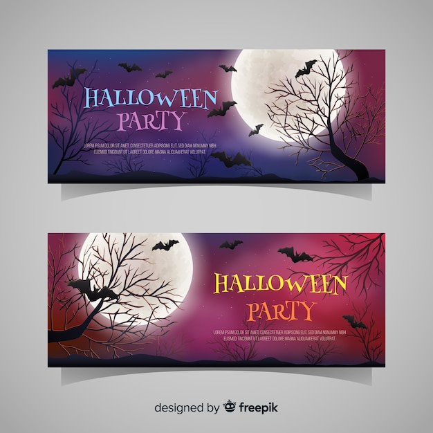 Halloween banners with bats and trees Free Vector