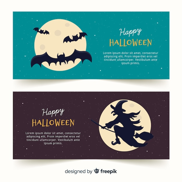 Bandiere di halloween con pipistrelli e streghe Vettore gratuito