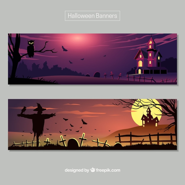 Halloween banners with dark landscapes Free Vector