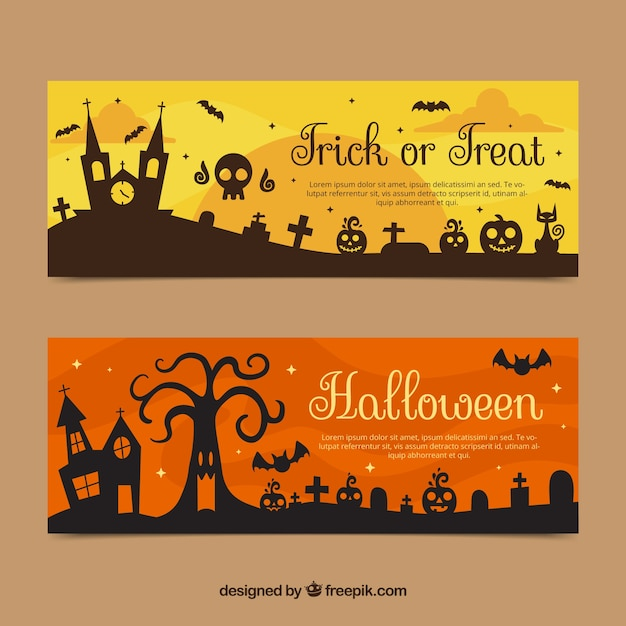 Halloween banners with mansion and tombstones Vector | Free Download