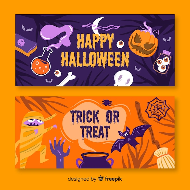 Halloween banners with pumpkin and monsters Free Vector