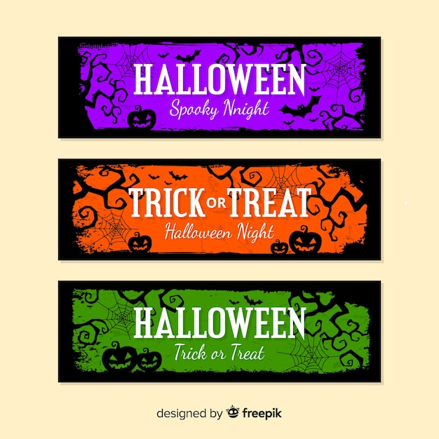 Halloween banners with pumpkins in colours Free Vector