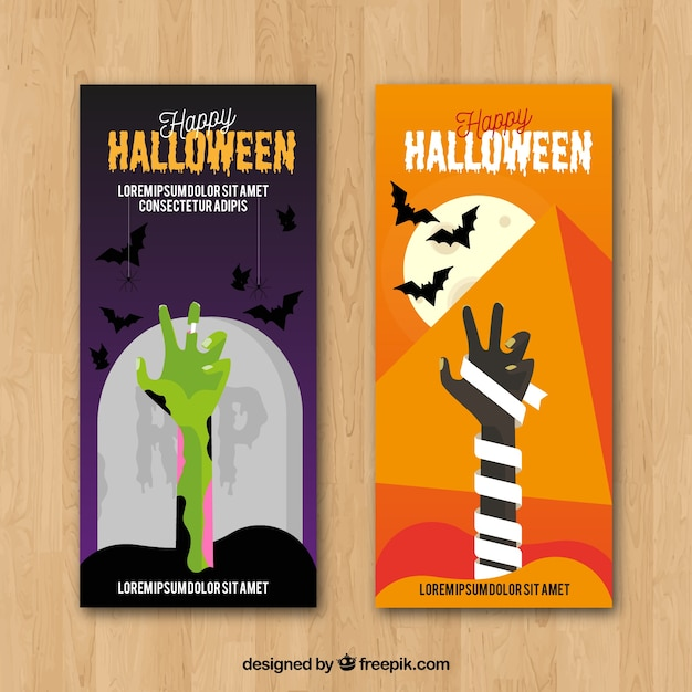 Halloween banners with zombie hands