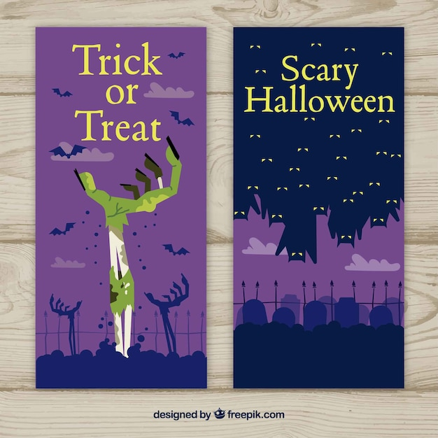 Halloween banners with zombies and bats