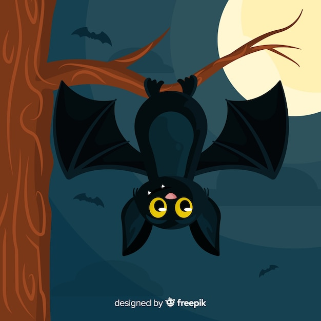 Halloween bat background in flat design Free Vector